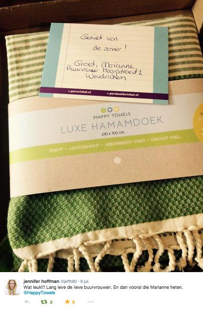 Jennifer Hoffman is blij met haar hamamdoek