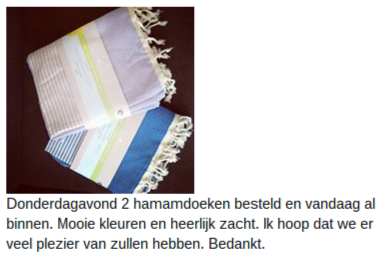 Nathalie is superblij met haar hammamdoek