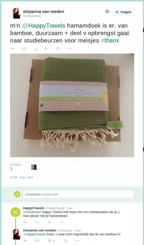 tweet van miryanna van reeden over hamamdoeken van happy towels