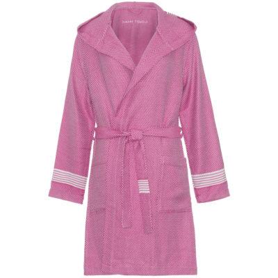 Badjas met capuchon   flamingo roze   fitted model