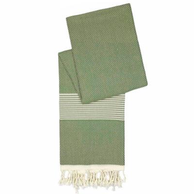 Korte hamamdoek bamboe | Olijfgroen | Lengte: 160 cm